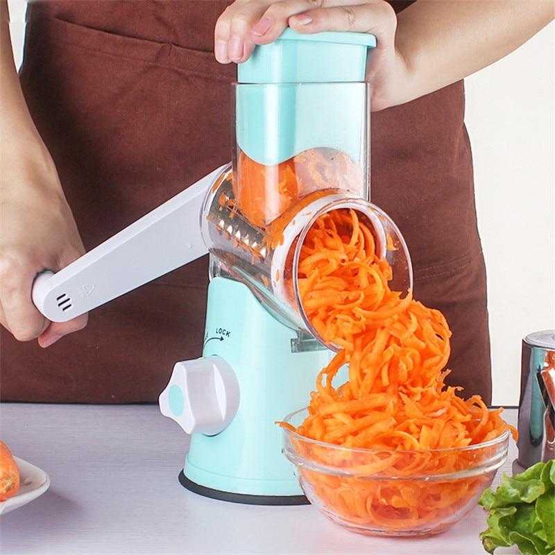 Manual Roller Vegetable Slicer Cutter Potato Chopper Carrot Grater Detachable 3 Stainless Steel Blade Meat Grinder