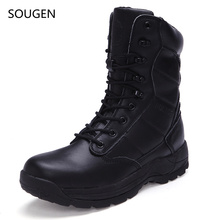 Sougen Boots Men Hunting Genuine Leather Vintage Tactical Waterproof Black Timbers Casual Suede Winter Males Timber Chelsea