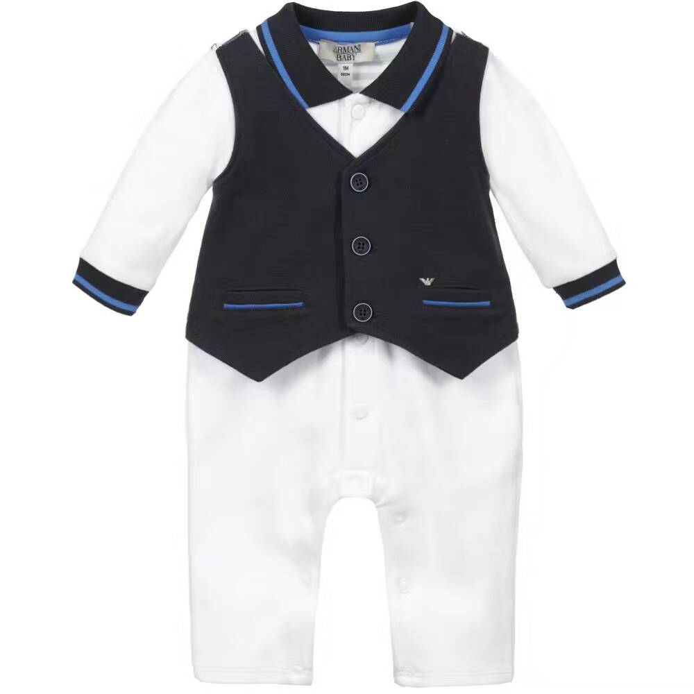 2 Color Baby jumpsuits waistcoat Fake two piece Long sleeve Climb clothes Infant toddlers gentleman modelling Romper wholesale