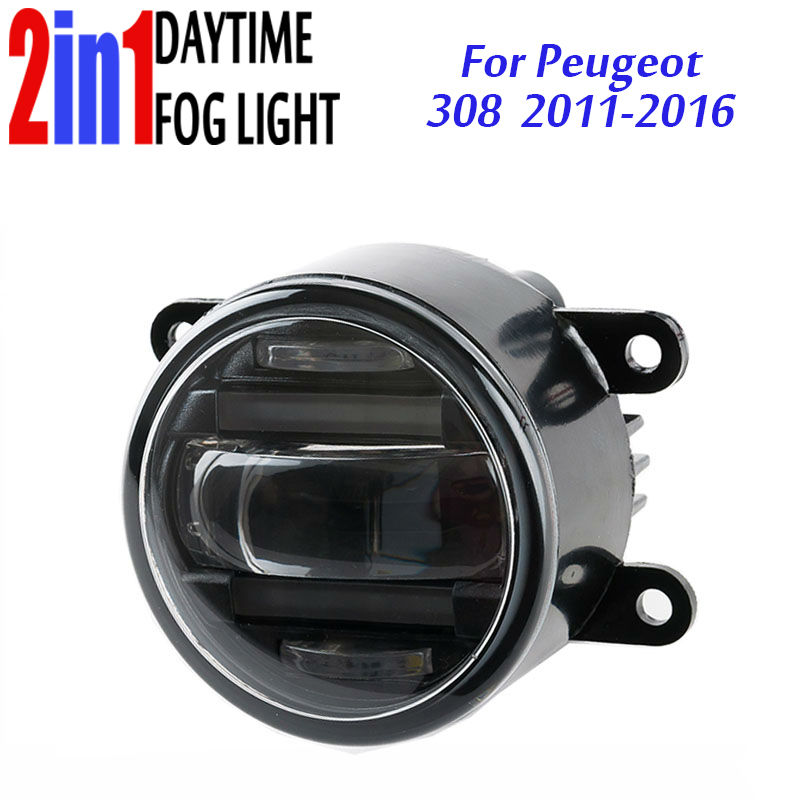 3.5 90mm Round LED Fog Light Daytime Running Lamp LED Chips Fog Lamp DRL Lightings Lens for Peugeot  308 2011 12 2013 14 15 16