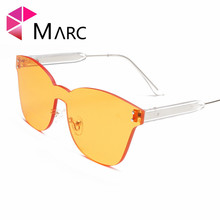 MARC Body Sunglasses design brand Fashion Trend Red classic UV400 2018New Gray Rimless Resin Orange sol gafas