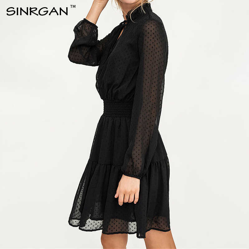SINRGAN 블랙 레이스 중공업 미니 드레스 여성 vestidos 긴 소매 탄성 허리 섹시한 파티 크리스마스 드레스 여름 드레스
