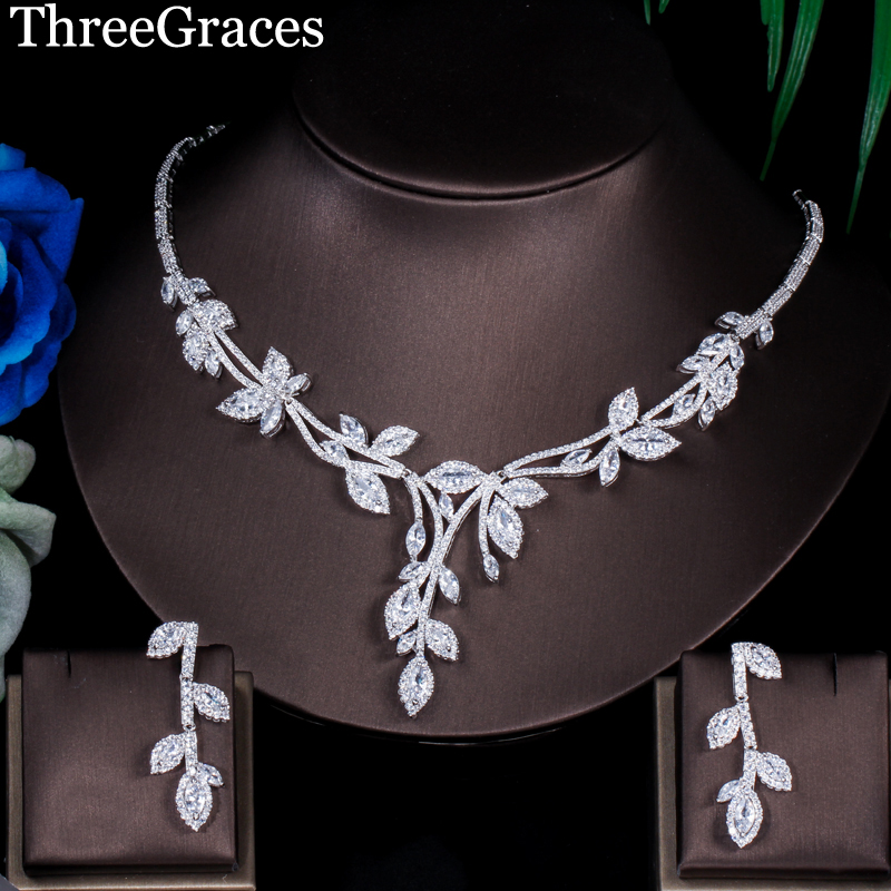ThreeGraces New Arrival Luxury Silver Color Cubic Zirconia Big Leaf Earrings Necklace Women Evening Party Jewelry