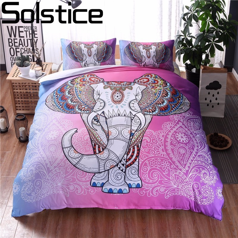 Solstice Home Textile Pink Bohemian Elephant Style Bedding Sets 2/3pcs Bed Linings Duvet Cover Pillowcases Double Queen King