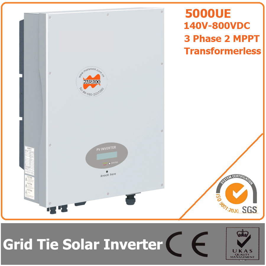 5000W 140V-800VDC Three Phase Transformerless Solar Grid Tie Inverter with CE RoHS Approvals 5000w single phrase on grid solar inverter with 1 mppt transformerless waterproof ip65 lcd display multi language