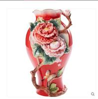 The red and large ceramic vase in China is a beautiful vase with flowers on it