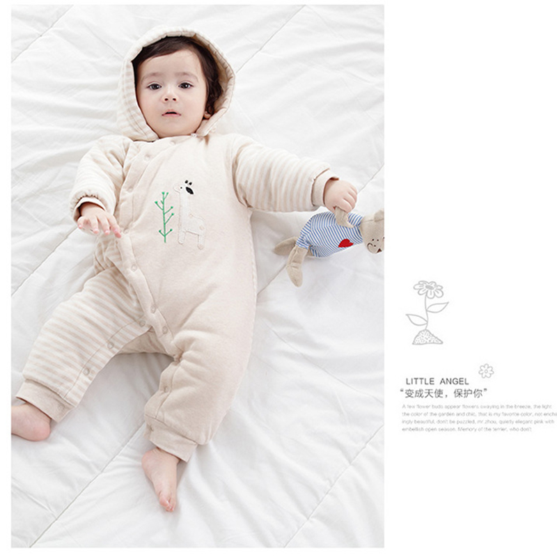 Baby Kids Toddler Stripes Jumpsuit Winter Warm Romper Thicken Clothes Hat Pure Cotton Newborn Infant Romper Cotton Baby Clothes