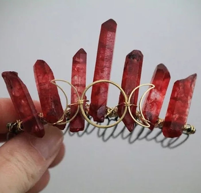 Blood Moon Triple Moon and Blood Red Crystal Mini Crown, Quartz Point Accessory, Red Celestial Hair Piece, Witch Crescent Moon