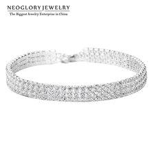 Neoglory Jewelry Platinum Plated Rhinestone Charm Chain  Bangles & Bracelets for Women Wedding 2014 Romantic New