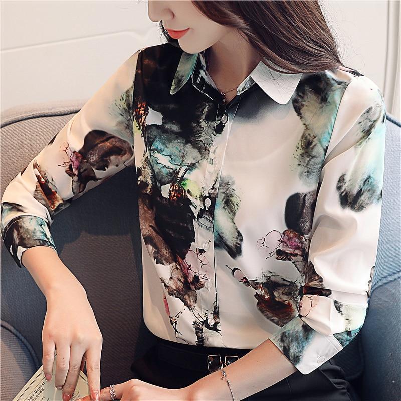 Fashion 2019 New Autumn Spring Women   Blouse     Shirt   Long Sleeve Elegant Professional   Shirts   Casual Slim Lady Office Print   Blouse