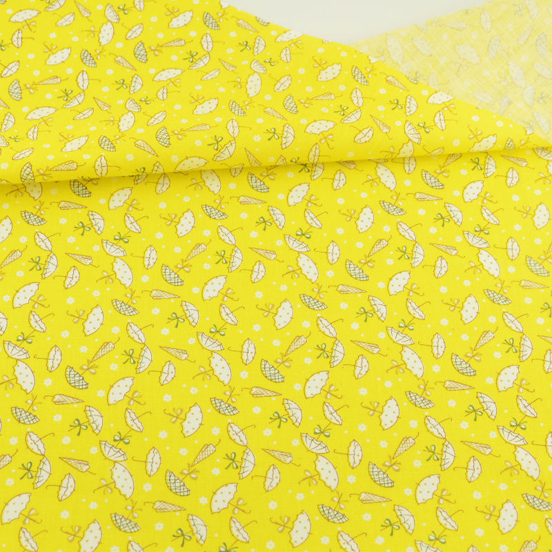 2016 New Arrivals Printed Lovely Umbrella Design Yellow Fat Quarter Cotton Fabric Home Textile for Patchwork Doll Colthing Cafts craft
