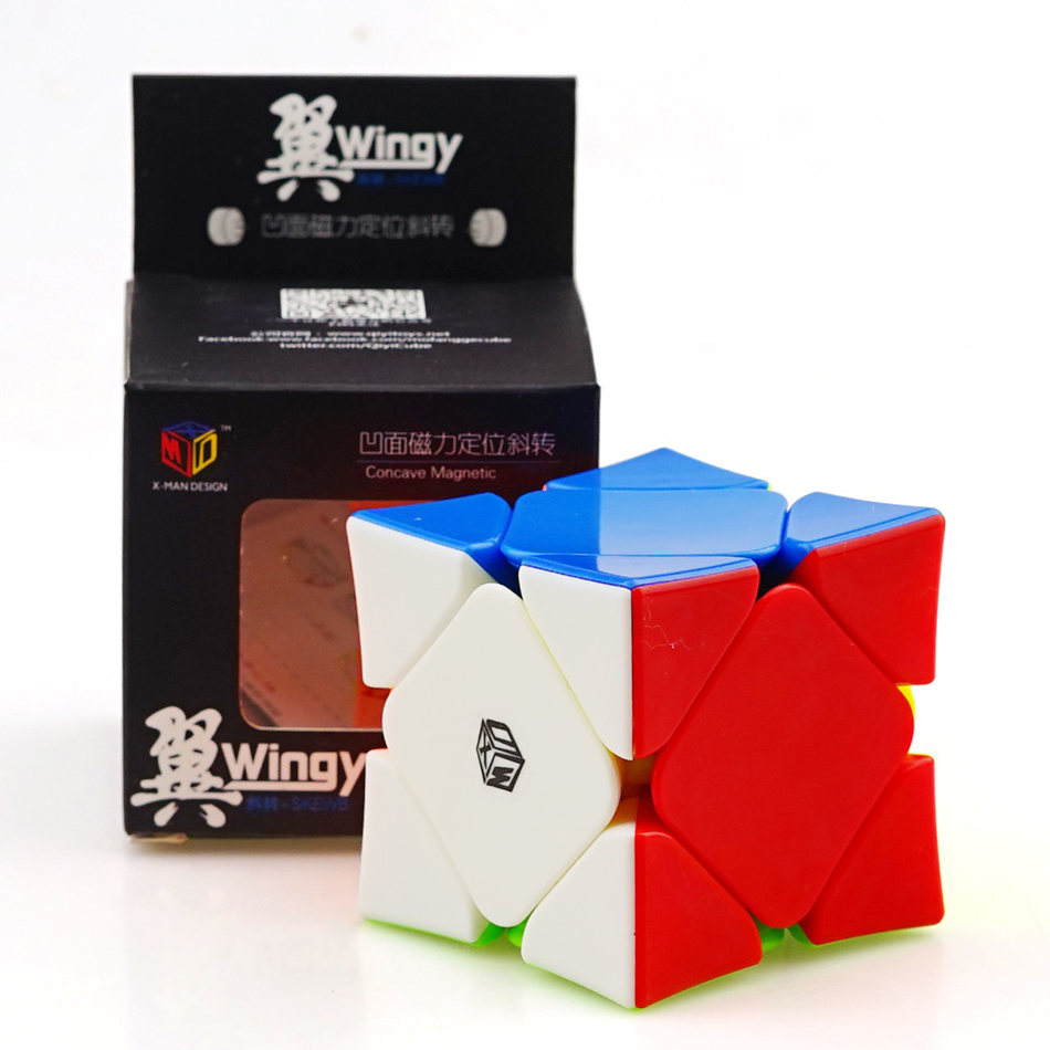 Qiyi X-Man Design Wingy Magnetic Skewb Cube 3x3 Concave Skew Cube Magnetic Positioning System Professional Puzzle Toys Gift
