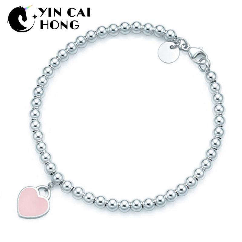 NEW Charm Gift 925 Sterling Silver Pink Heart TIFF Attractive Elegance Temperament Bracelet World JewelryNEW Charm Gift 925 Sterling Silver Pink Heart TIFF Attractive Elegance Temperament Bracelet World Jewelry