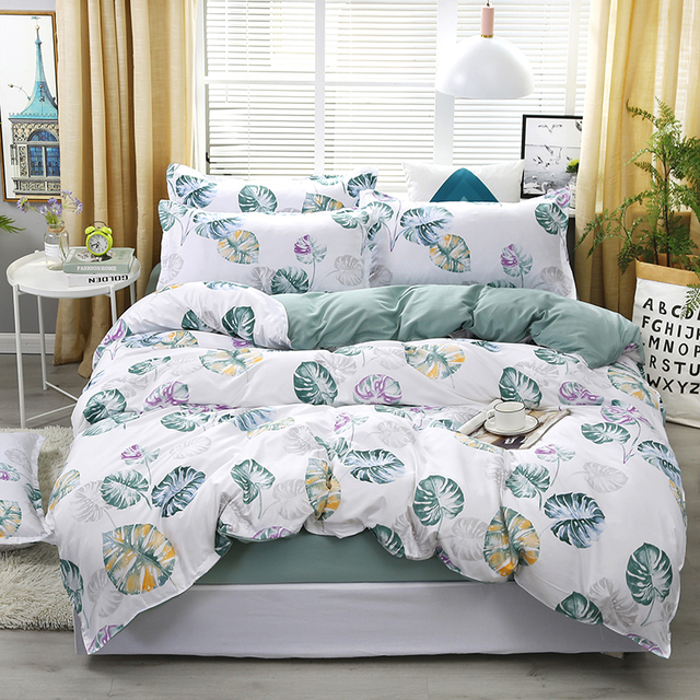 New Blue Banana Leaf Pattern Bedding Set Bed Linings Duvet Cover Bed Sheet Pillowcases Cover Set For 1.2/1.5/1.8/2/2.2m Bed