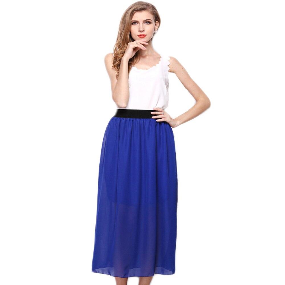 Hot Sale Summer Women Skirts Fashion Bohemian Double Layer Chiffon Pleated Elastic Waist long Maxi Skirt Free Shipping