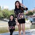 Familiar a clothing camisa a juego de algodón suave ropa de mirada de la familia de madre e hija madre hija con flecos suéter chaqueta
