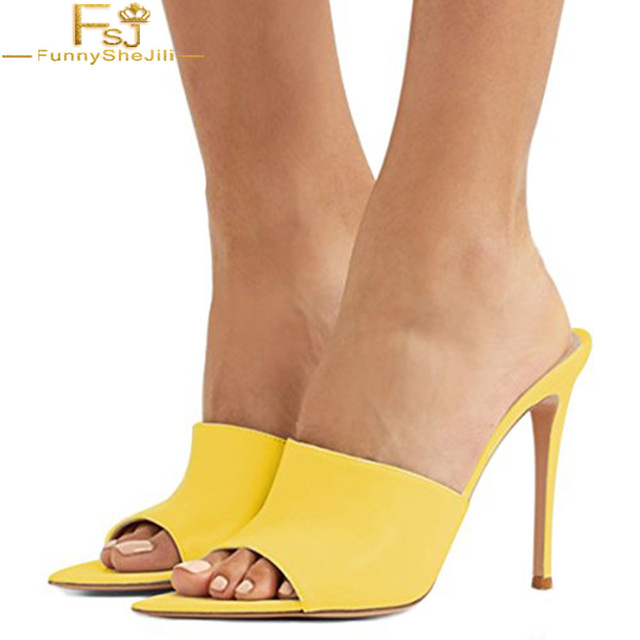 b6506213690 Women Shoes Mules High Thin Heels Sandals Peep Toe Leather Sexy Slide Shoes  Size 42 Outside Yellow Nude Slippers FSJ Fashion gg