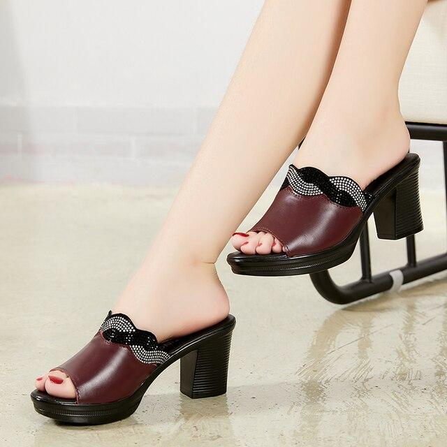 GKTINOO Women Slipper's 2019 Ladies Summer Slippers Shoes Women High Heels Fashion Rhinestone Summer Shoes Genuine Leather 2