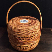 цена на Vietnam Rattan weaving Pu 'er tea box organizer tea cake dessert double layer storage basket tea storage box caddy cans canister