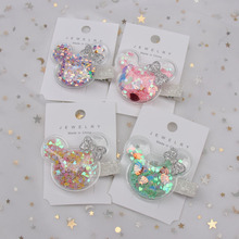 2Pcs 2019 Korean Cute Hair Bows for Girls Silver Glitter Barrettes Handmade PVC Cartoon Mouse Hairgrips with Shiny Stars