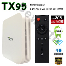 Android 6.0 TV Box 2 ГБ 16 ГБ TX95 S905X Amlogic Quad Core Смарт-Мини-PC Dual Wifi 4 К 3D Media Player Bluetooth ПРОТИВ Mi Set Top Box