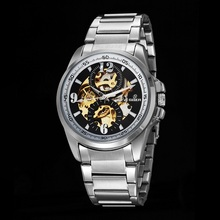 GOER brand Men s mechanical wrist watch male Automatic Luminous Skeleton Stainless Steel waterproof sports watch