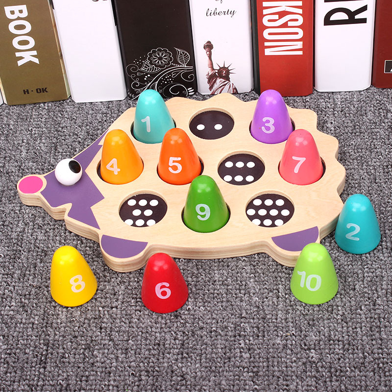 Wooden Hedgehog Learning Figure Matching Kids Educational Toys Puzzles Toys for Baby