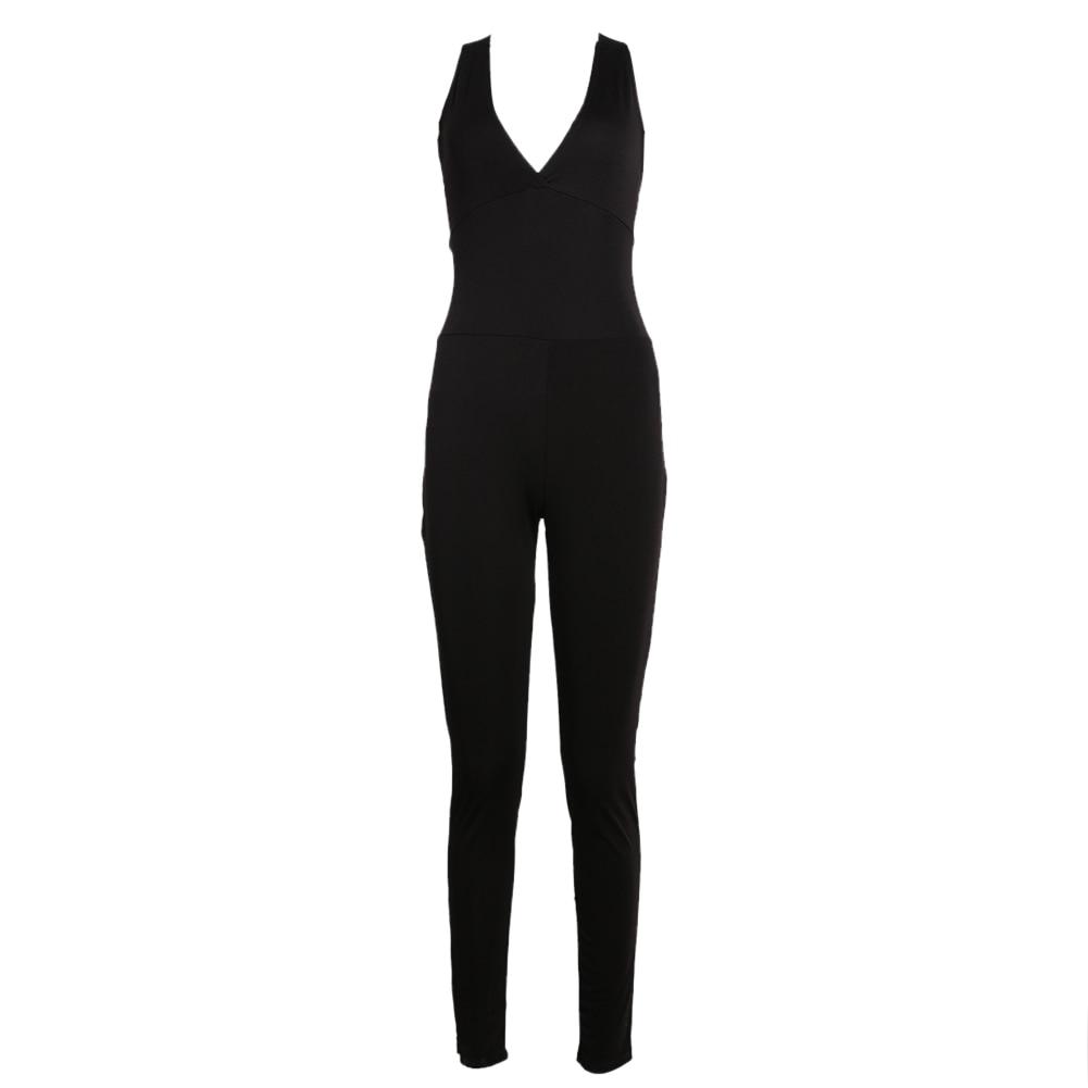 S1# sport women Fitness Yoga suit Set Gym Sports Slim Backless V Neck Cross Bandage Playsuit Jogging Jumpsuit Bodysuit Tracksuit