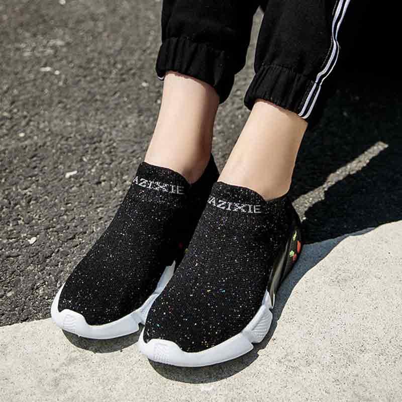 Chaussette chaussures baskets femmes baskets sans lacet chaussures vulcanisées plate-forme baskets noires dames flatsZapatillas Mujer décontracté