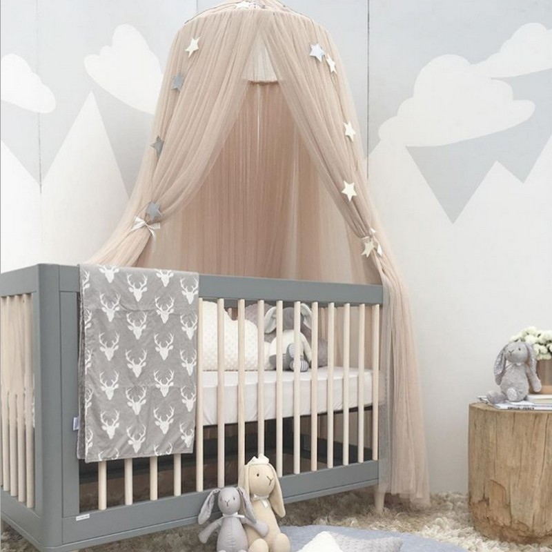 Hanging Kid Bedding Round Dome Bed Canopy Bedcover Mosquito Net Curtain Home Bed Crib Tent Hung Dome Two Layer Of Net Yarn 240cm Mother & Kids