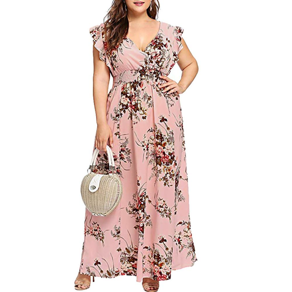 <font><b>Women</b></font> <font><b>Plus</b></font> <font><b>Size</b></font> Summer <font><b>Dress</b></font> Female V Neck Floral Print Bohemia Sleeveless Party Beach Maxi <font><b>Dress</b></font> Fashion Casual <font><b>Sexy</b></font> <font><b>Dress</b></font> 2019 image