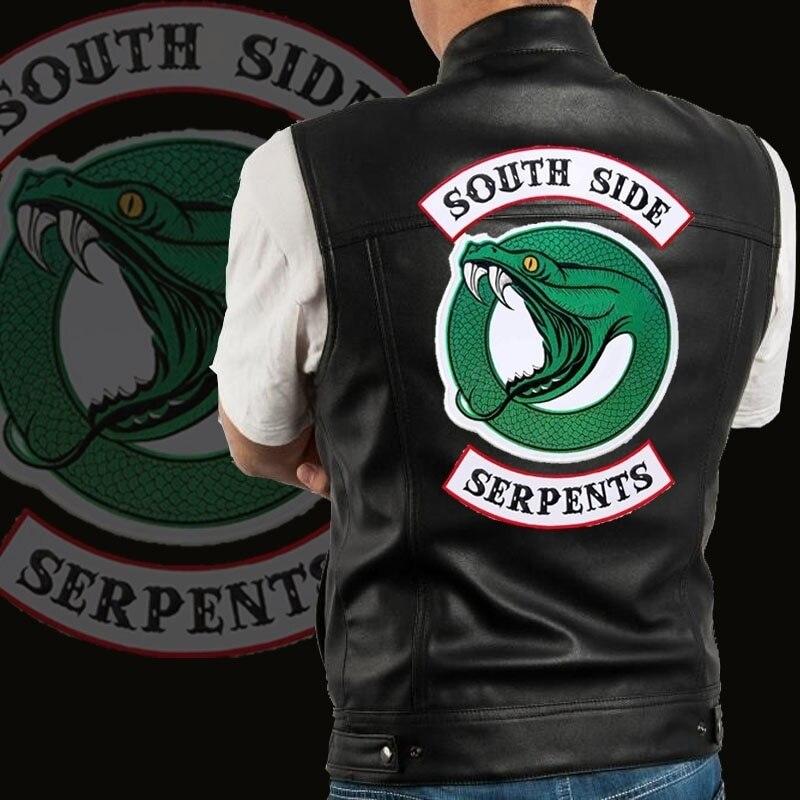 Men Fashion Design Riverdale South Side Serpents Sleeveless Bomber Jackets Motorcycle Engine Punk Pu Vests Harley Leather Vest