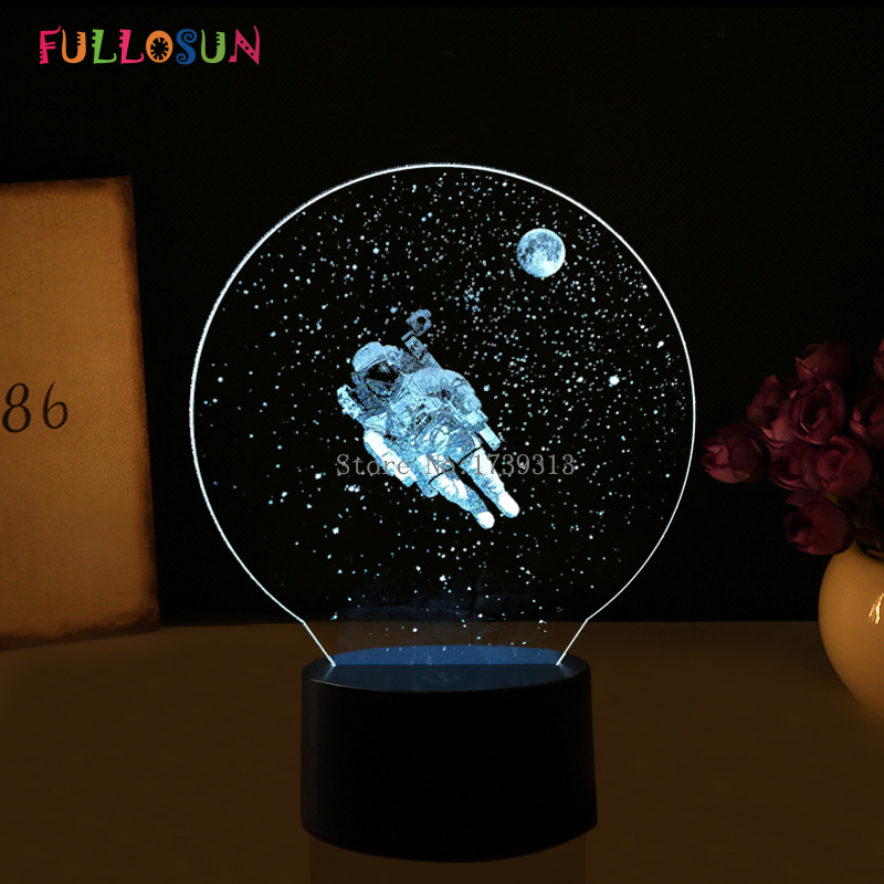 3D Acrylic Plate Lights Astronaut LED USB Table Lamp Colorful Flashing 3D Touch Lamp as Indoor Decoration Lights цена