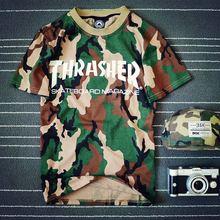 Thrasher Skateboard Tarnung Männer Frauen t-shirt 2016 Top-qualität Hip Hop Baumwolle Yeezus HBA Suprem Mode für Männer Tops Homme