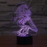 3D Led 26cm Creative Atmosphere Table Lamp Toy Deadpool Alien Predator Hulk 7 Color Gradient Visual