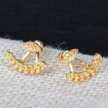 Fashion Earing Crystal Gold Silver Ear Jackets Jewelry High Quality Leaf Ear Clips Stud Earrings For Women 1 Pair