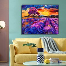Purple Lavender Flower Field Decoration Canvas Painting Calligraphy Wall Pictures Art Modern Home Decor