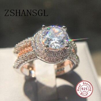 76c19d79d2a5 2 piezas anillos de boda Set S925 esterlina anel feminino bijoux 0.5ct AAA  CZ cristal joyería de compromiso infinito anillos para las mujeres