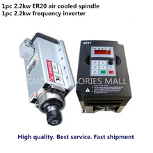 cnc spindle motor 2.2kw ER20 air cooled milling electric spindle & 2.2kw inverter for cnc engraver good quality low price new spindle cnc 400w air cool spindle for cnc machine
