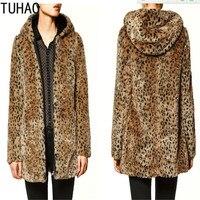 TUHAO 2018 Fur Coats Vintage Streetwear Women Long Coats Faux Fur Coat Autumn Winter Leopard Female Clothing Long Jacket SXFS