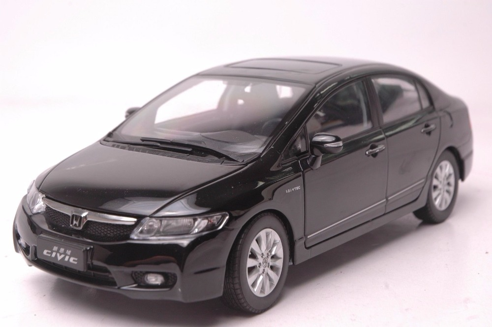 1:18 Diecast Model for Honda Civic 8 2009 Black Alloy Toy Car Miniature Collection Gifts MK8 1 43 diecast model for honda civic 2016 mk10 white alloy toy car miniature collection gifts