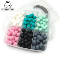 DIY Nursing Jewelry Combination Package 180pcs Mixed Color 0.59(15mm) Natural Round Silicone Beads Baby Teether Toys Set