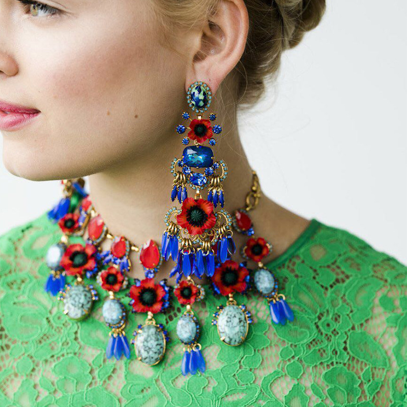 Qiaose Big brand multicolors crystal pendant bohemian necklace alloy statement maxi jewelry for women accessories hot sales