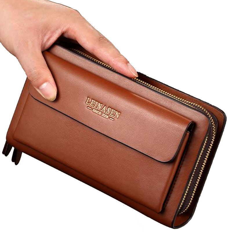 Business Long Men's Wallet Leather Clutch bag Double Zipper Split Leather Phone Men Wallets Coin Purse Card Holder Handbag 2018