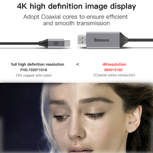 Image 3 - Кабель Usb C HDMI Baseus 4K 60Hz Type c к HDMI Удлинительный Кабель адаптер для Huawei P30 P40 Pro Samsung S20 S10 S9 OnePlus 7