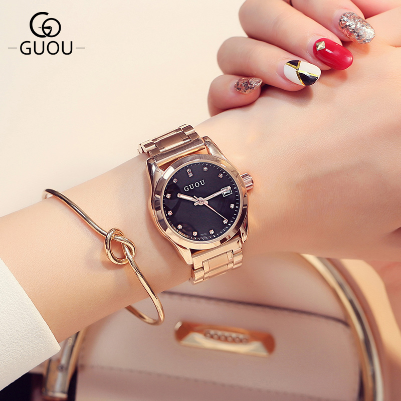GUOU Brand Luxury Rose gold Crystal Rhinestone Ladies Quartz Watch Fashion Female Simple Clock Women Watches Relogio Feminino tshing ray fashion women rose gold mirror cat eye sunglasses ladies twin beams brand designer cateye sun glasses for female male