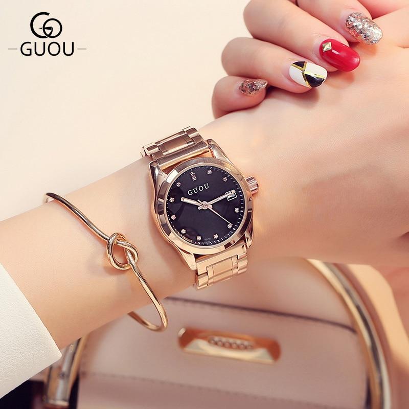 GUOU Brand Luxury Rose gold Crystal Rhinestone Ladies Quartz Watch Fashion Female Simple Clock Women Watches