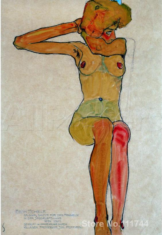 Portrait art abstract <font><b>Seated</b></font> <font><b>Female</b></font> <font><b>Nude</b></font> with Raised Right Arm Egon Schiele Paintings for sale High quality Hand painted