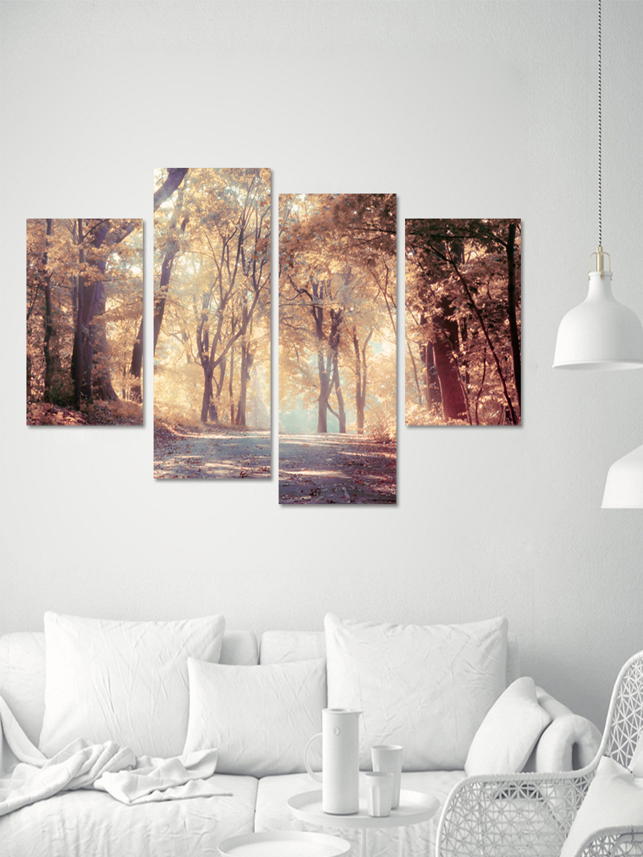 4pcs/set 3D Park View Combination  Sofa Background Wall Self-adhesive Poster DIY Autumn Tree Art Mural Wall Stickers Home Decor(China)