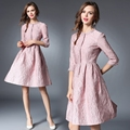 [Alphalmoda] Spring Ladies Elegant Lace Dress Stand Collar Slim Fit Jacquar Quality Lace Vestidos Pink M-2XL